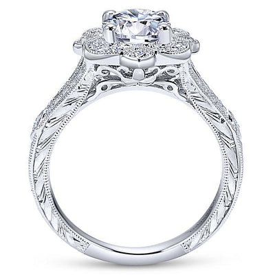 ENGAGEMENT - 1.46cttw Vintage Style Halo Round Diamond Engagement Ring