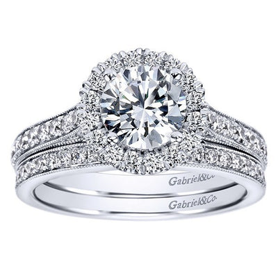 ENGAGEMENT - 1.47cttw Round Halo Diamond Engagement Ring With Bead Set Side Diamonds