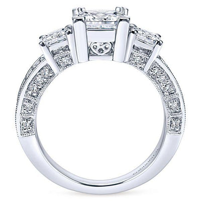 ENGAGEMENT - 1.50cttw 3-Stone Plus Diamond Engagement Ring With Pave Diamond Set Basket Heads