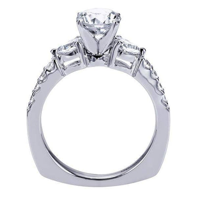 ENGAGEMENT - 1.50cttw 3-Stone Plus Diamond Engagement Ring With Pear Shaped Side Diamonds