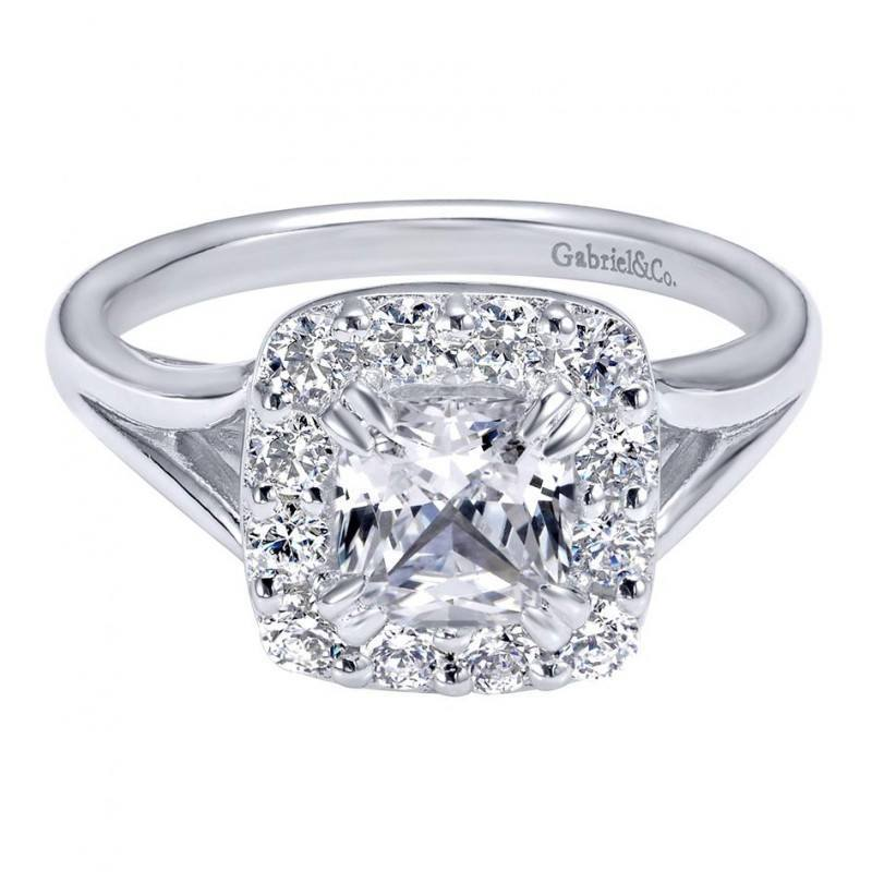 150cttw Cushion Cut Halo Style Diamond Engagement Ring with 1ct