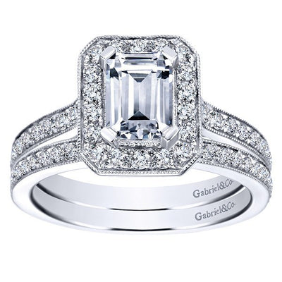 ENGAGEMENT - 1.50cttw Emerald Cut Bead Set Halo Diamond Engagement Ring With 7x5mm Center Diamond