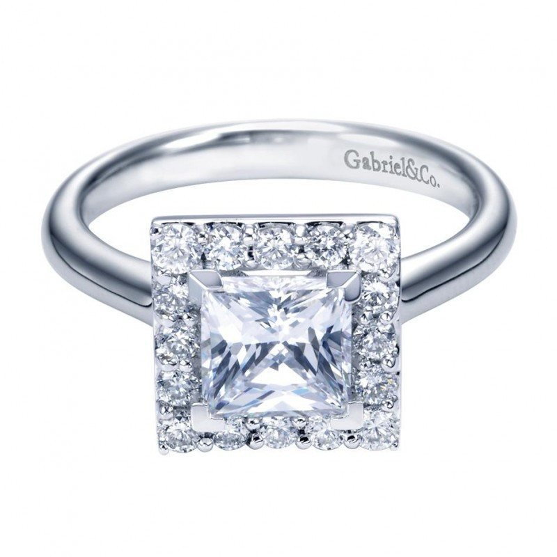 engagement 165cttw princess cut halo diamond engagement ring with plain shank - Princess Cut Diamond Wedding Rings