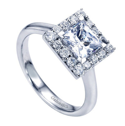 ENGAGEMENT - 1.65cttw Princess Cut Halo Diamond Engagement Ring With Plain Shank