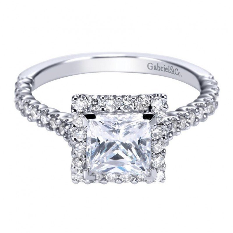1.72cttw Princess Cut Halo Diamond Engagement Ring with ...