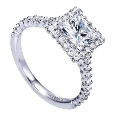 ENGAGEMENT - 1.72cttw Princess Cut Halo Diamond Engagement Ring With Prong Set Side Diamonds