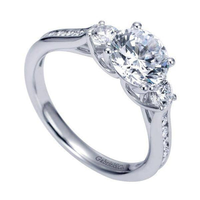 ENGAGEMENT - 1.75cttw 3-Stone Plus Diamond Engagement Ring With Channel Set Side Diamonds And Trellis Detail