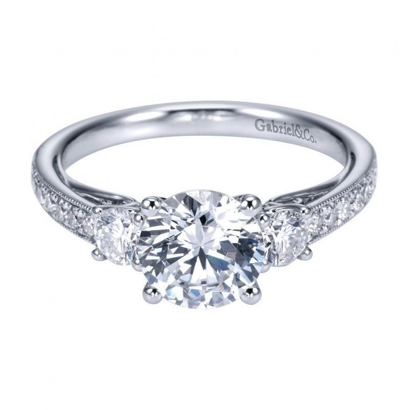 row ring gold in diamonds mount two engagement side semi white diamond with twist rings