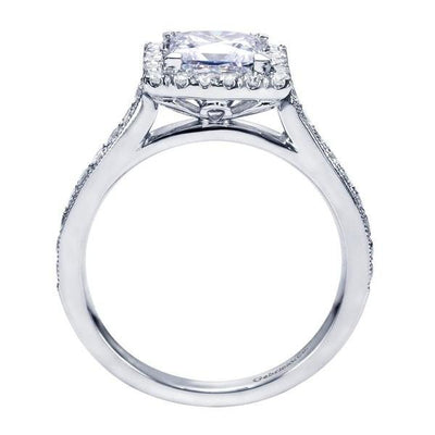 ENGAGEMENT - 1.75cttw Princess Cut Halo Diamond Engagement Ring With Bead Set Side Diamonds