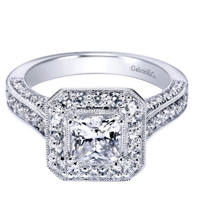ENGAGEMENT - 1.80cttw Cushion Shaped Halo Diamond Engagement Ring