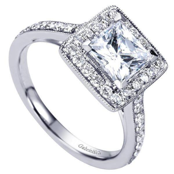 1.80cttw Princess Cut Halo Diamond Engagement Ring with ...