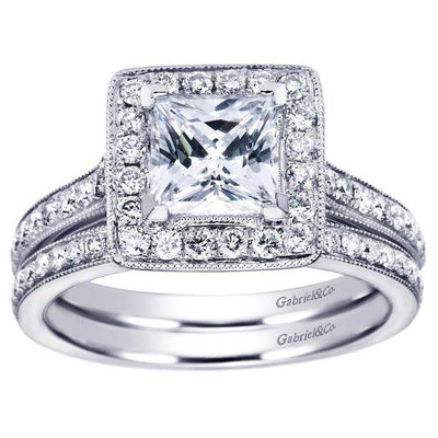 ENGAGEMENT - 1.80cttw Princess Cut Halo Diamond Engagement Ring With Bead Set Side Diamonds
