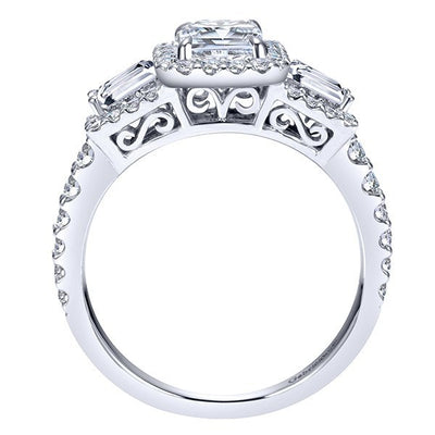 ENGAGEMENT - 1.84cttw Halo Emerald Cut And Baguette Diamond Engagement Ring