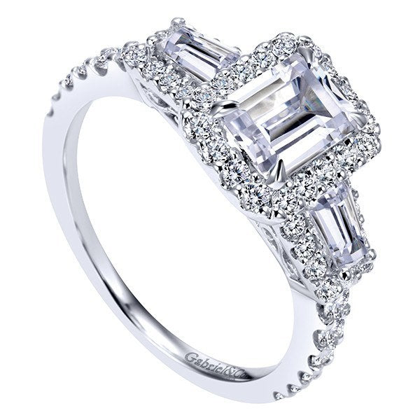 Halo Emerald Cut And Baguette Diamond Engagement Ring