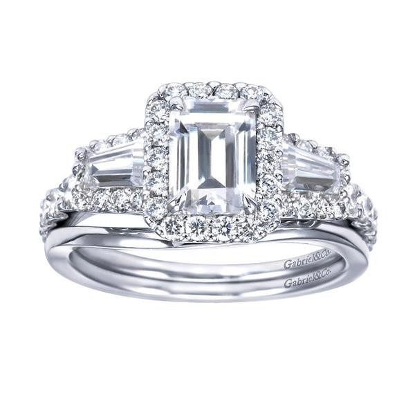 Halo Emerald Cut and Baguette Diamond Engagement Ring Mullen Jewelers
