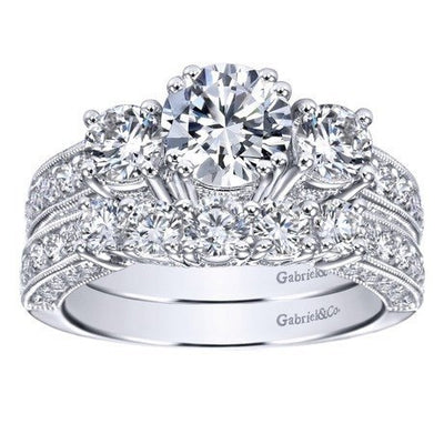 ENGAGEMENT - 1.85cttw Vintage Style 3-Stone Plus Diamond Engagement Ring
