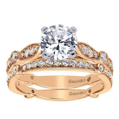 ENGAGEMENT - 14k Rose Gold 1.37cttw Bead Set Round Diamond Engagement Ring