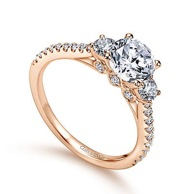 ENGAGEMENT - 14K Rose Gold 1.45cttw 3-Stone Plus Prong Set Round Diamond Engagement Ring