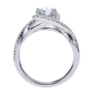 ENGAGEMENT - 14k White Gold 1.05cttw Criss-Crossed Round Diamond Engagement Ring With Lab Grown Diamond Center