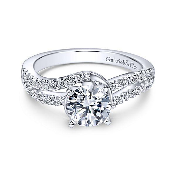 c461742152144 ENGAGEMENT - 14K White Gold 1.30cttw Split Shank Bypass Style Diamond  Engagement Ring