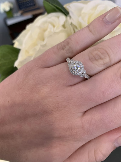 14K White Gold .80cttw Vintage Round Halo Diamond Engagement Ring with 1/2ct Center Diamond