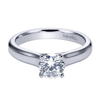 ENGAGEMENT - 14k White Gold Cathedral Solitaire Round Diamond Engagement Ring