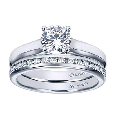ENGAGEMENT - 14k White Gold Cathedral Solitaire Round Diamond Engagement Ring Mounting