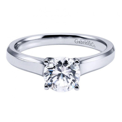 ENGAGEMENT - 14k White Gold Solitaire Round Diamond Cathedral Engagement Ring