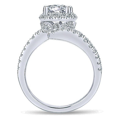 ENGAGEMENT - 14K White Gold Twisted Bypass Halo Diamond Engagement Ring