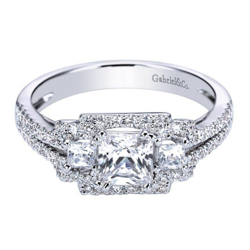 f300f4ba2e81c 2.15cttw 3-Stone Princess Cut Diamond Engagement Ring with Pave Set ...