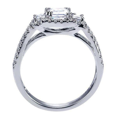 ENGAGEMENT - 2.15cttw 3-Stone Princess Cut Diamond Engagement Ring With Pave Set Diamond Frame