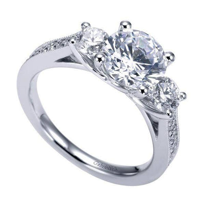 ENGAGEMENT - 2.30cttw 3-stone Plus Diamond Engagement Ring With Trellis Heads