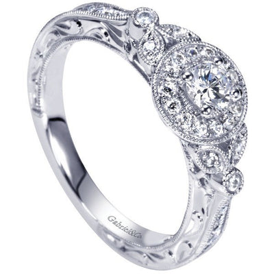 ENGAGEMENT - .48cttw Vintage Halo Diamond Engagement Ring With .21ct E/SI2 Center Diamond