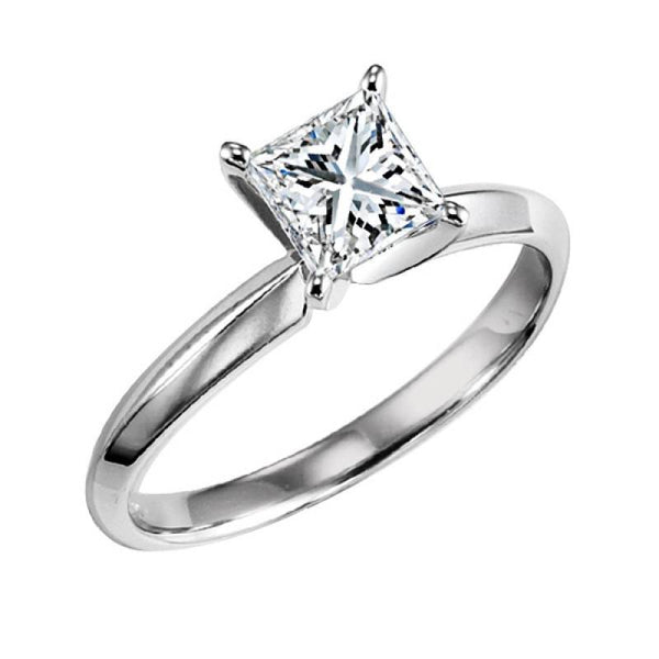 14k White Gold 12ct Princess Cut Solitaire Certified Diamond Engagement Ring