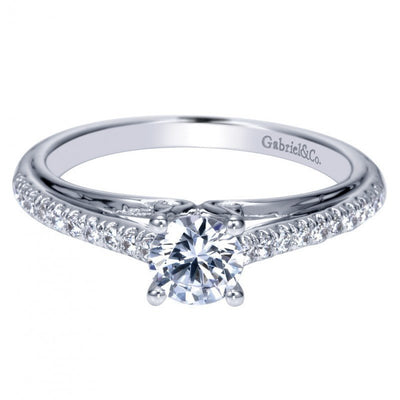 ENGAGEMENT - .53cttw Pave Set Round Diamond Engagement Ring With .36ct G/I1 Center Diamond