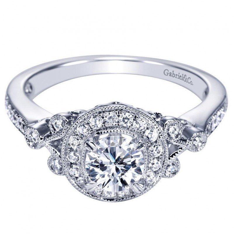 engagement 78cttw vintage style round halo diamond engagement ring - Vintage Style Wedding Rings