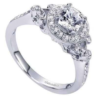 ENGAGEMENT - .78cttw Vintage Style Round Halo Diamond Engagement Ring