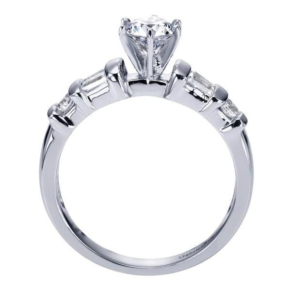 ... ENGAGEMENT - .82cttw Round And Baguette 5-stone Diamond Engagement Ring  ...