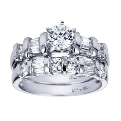 ENGAGEMENT - .82cttw Round And Baguette 5-stone Diamond Engagement Ring