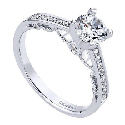 ENGAGEMENT - .93cttw Bead Set Vintage Style Round Diamond Engagement Ring