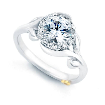 ENGAGEMENT - Mark Schneider Bloom 1.18cttw Halo Diamond Engagement Ring With Floral Shank