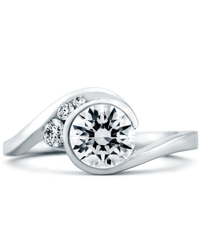ENGAGEMENT - Mark Schneider Escape 1.12cttw Freeform Bezel Set Round Diamond Engagement Ring