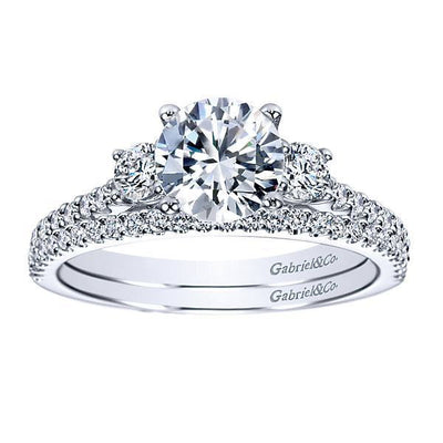 ENGAGEMENT - Platinum 1/2cttw 3-Stone Plus Diamond Engagement Mounting