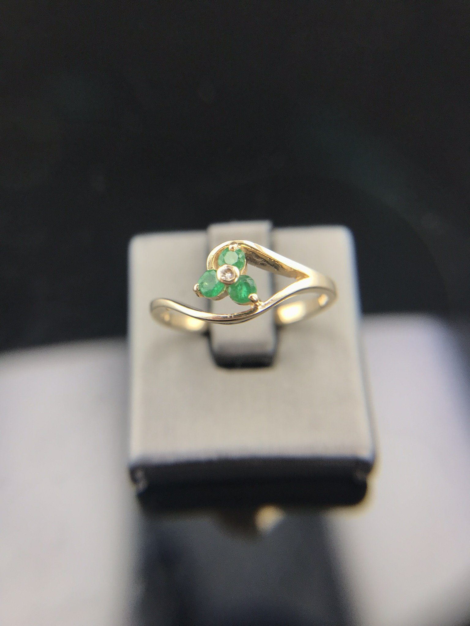855f1cb91 Estate Ring - Estate 14K Yellow Gold Dainty Emerald And Diamond Bypass Ring