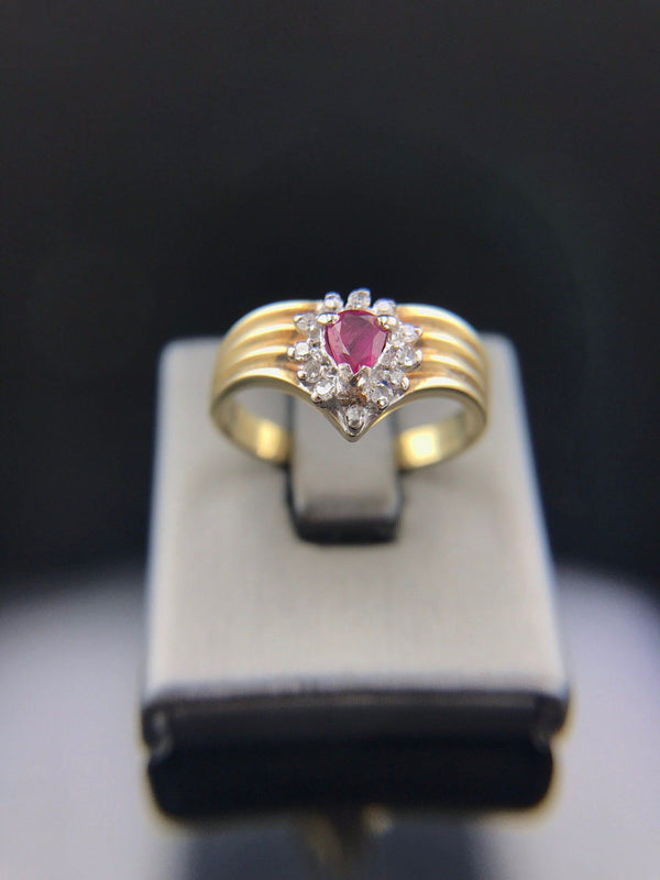 Estate 14k Yellow Gold Pear Shaped Ruby Halo Ring With V