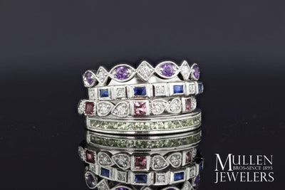 JEWELRY - 10k White Gold Diamond And Amethyst Birthstone Ring