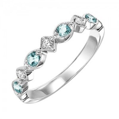 JEWELRY - 10k White Gold Diamond And Aquamarine Birthstone Ring