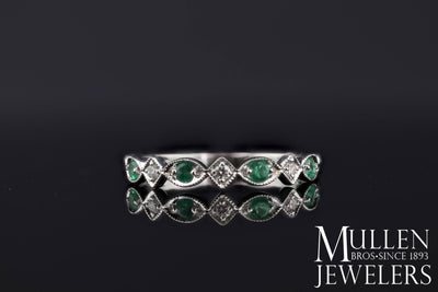 JEWELRY - 10k White Gold Diamond And Emerald Birthstone Ring