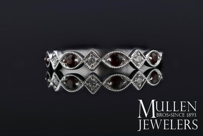 JEWELRY - 10k White Gold Diamond And Garnet Birthstone Ring