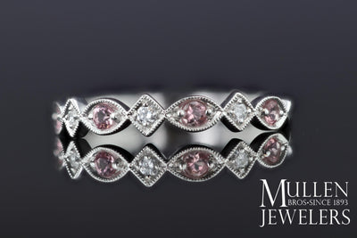 JEWELRY - 10k White Gold Diamond And Pink Tourmaline Birthstone Ring
